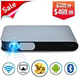 WOWOTO CAN Projector 3500 Lumens 3D DLP Support Full HD 1080P 300in with WiFi Bluetooth AirPlay HDMI Android OS Mini Projector for Home and Office (Color: (2018) CAN)