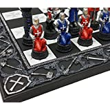 Medieval Times Crusades Red and Blue Armored Maltese Knights Chess Set with 17