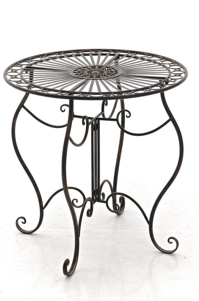 CLP handgefertigter runder Eisentisch INDRA in nostalgischem Design, Durchmesser 70 cm (aus bis zu 6 Farben wählen) bronze online kaufen