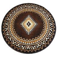 South West Native American Round Area Rug Design Kingdom 143 Chocolate