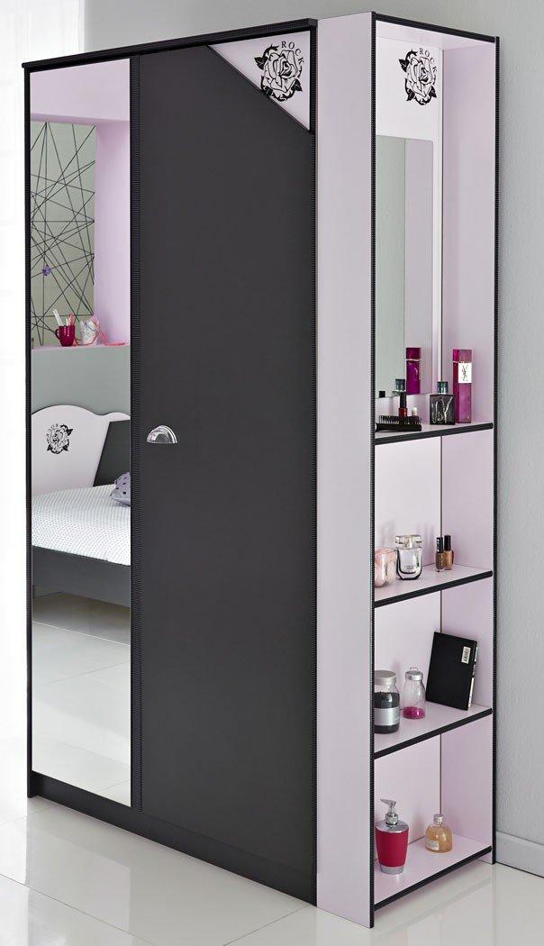 Schrank-Regal-Kombi Tadeo 6 dunkelgrau rosa, Kleiderschrank Standregal Kombination Kinderzimmer bestellen