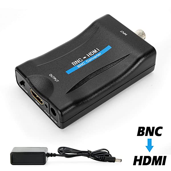 MakeTheOne BNC Female to HDMI Video Converter Adapter Box for Security Camera CCTV Monitor with 720P/1080P HD Output Switch (Color: BNC to HDMI)