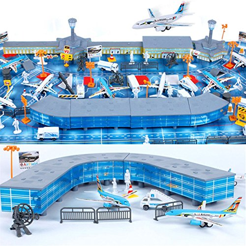 200 Pieces Aircraft Model Playset Airport Assembled Toys for Kids Gift (Airport compare prices)