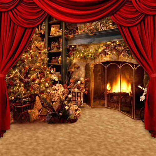 Christmas Tree Beside The Fireplace 10 x 10 CP Backdrop Computer Printed Scenic Background GladsBuy Backdrop HY-CM-3251
