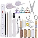 BUTUZE 32 Pieces Hand Bookbinding Tools, Bookbinding Kit for Beginners,Complete Bookbinding Tool Kit with Bookbinding Waxed Thread,Sewing Needles for Paper Bookbinding (Color: 32 Pcs Bookbinding Set)