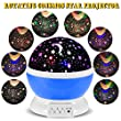 3 Modes Rotating Star Light Projector, Hallomall 4LED Romantic Night Lamp Projection, Cosmos Star Sky Moon Lamp Projector for Kids Baby Bedroom, Christmas Gifts (Blue)