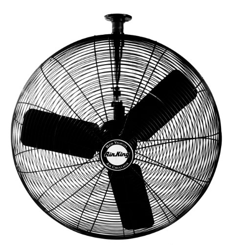 Air King 9325 24-Inch 3-Speed Industrial Grade Oscillating Ceiling Mount Fan, 1/4-Horsepower, Black Finish