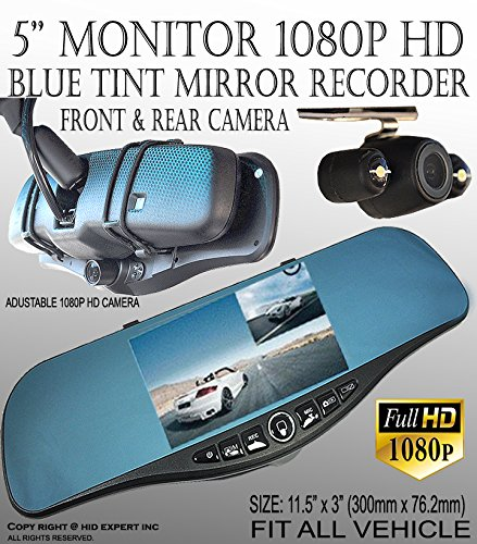 JDM 300mm Blue Tint 1080P Front Back Car Camera Rearview Mirror MiniSD Slot S#4 (Toyota Corolla 2011 Rearview compare prices)