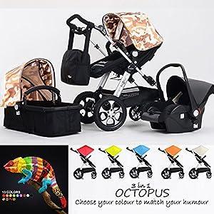 Cochecito Completo de bebé combinado 3 en 1 - Cochecito de bebé, silla de paseo y silla de coche, OCTOPUS ARMY en BebeHogar.com