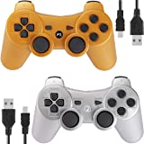 Kolopc Wireless Bluetooth Controller for PS3 Double Shock - Bundled with USB Charge Cord (Gold and Silver1) (Color: Gold and Silver1)
