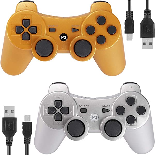 Bundled with USB Charge Cord Kolopc Wireless Bluetooth Controller for PS3 Double Shock White Skull