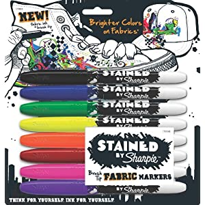 Stained by Sharpie Brush Tip Fabric Markers, 8 Colored Markers (1779005)