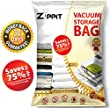 XL PREMIUM 6 VACUUM STORAGE BAGS by ZIPPIT, Extra Large 100x80cm. For Clothes, Bedding, Duvets, Towels, Curtains and More. Double Zip Seal & Unique Turbo Valve Keeps Items Compressed For Longer!