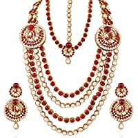 I Jewels Traditional Gold Plated Wedding Bridal Set with Damini for Women IJ219M (Maroon)