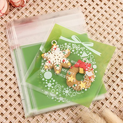 X'mas Christmas Cookie Candy Party Gift Bags with Self-Adesive, Pack of 100, Green Color. (Gluten Free Pillsbury Dough compare prices)