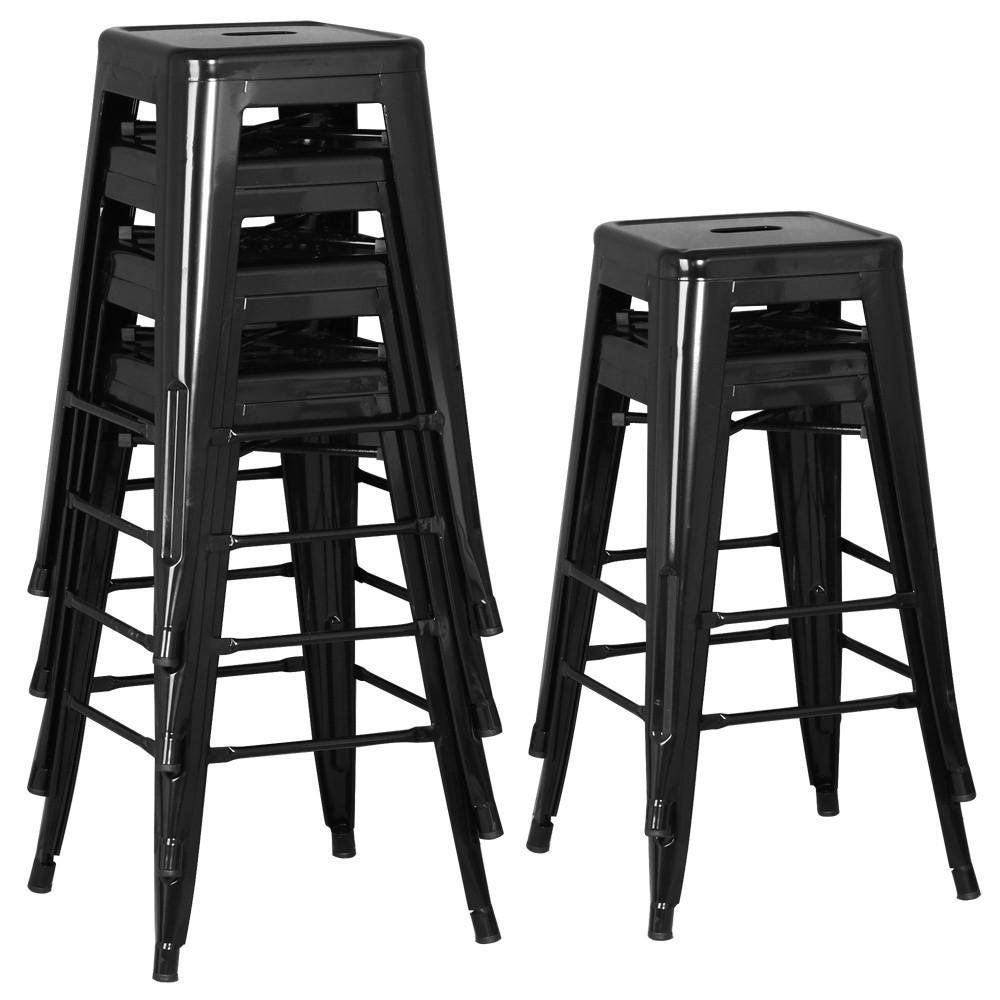 go2buy 6 PCs 26'' Metal Frame Bar Stools Vintage Counter Bar Stool Heavy Duty Black 2