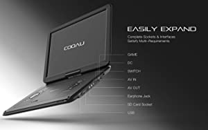 "COOAU 17.9"" Portable DVD Player with 15.6 Large Swivel Screen, 6 Hrs Long Lasting Built-in Battery, Region Free, Stereo Sound, with Remote Controller,SD+USB+AVin+AVout+Earphone Port. Black (Color: Black, Tamaño: 15.6 inch)"