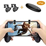 LLMIN Mobile Game Controller[Newest], PUBG Mobile Controller, Sensitive Aim Shoot Metal Button and Portable GameGrip, Mobile Game Trigger for Fortnite/Battlegrounds on IOS Android Phone 4.8-6.4inch (Color: black-1)