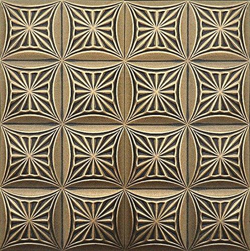peint-a-la-main-en-mousse-polystyrene-dalles-de-plafond-retro-81-noir-or-500-x-500-mm