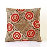 Jodhaa Cushion Cover With Brocade In Red/Gold/ Black