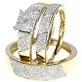 His Her Wedding Rings Set Trio Men Women 10k Yellow Gold