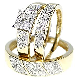 Amazon.com: His Her Wedding Rings Set Trio Men Women 10k