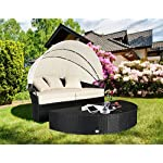 Cloud Mountain 4 PC Cushioned Outdoor Wicker Patio Furniture Set Garden Lawn Rattan Sofa Furniture Round Circular Retractable Canopy Daybed with Ottoman, Black