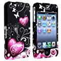 eForCity Snap-on Case compatible with Apple® iPhone® 4 / 4S, Dark Purple Black Heart with Butterfly