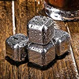 WINK KANGAROO Whiskey Stones - Stainless Steel Whiskey Ice Cubes & Diamonds with Freezing Storage Tray and Professional Tongs - Reusable Chillers Beer juice Wine Chillers and Sipping Stones (6)