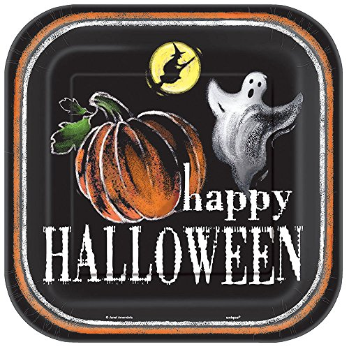 Square Ghostly Halloween Dinner Plates, 8ct