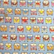 Retro Camper Van Fabric on Pale Blue 100% Cotton 1 Metre.