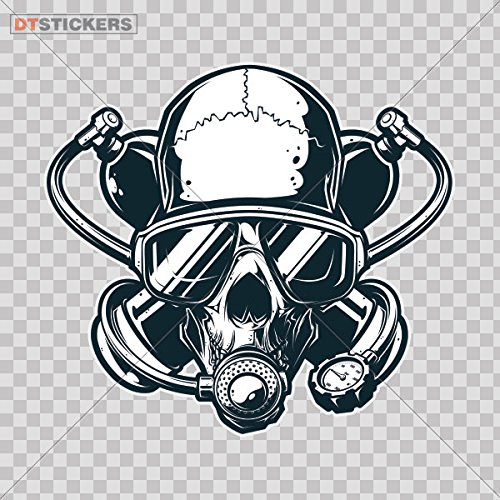 Decal Stickers Scuba Skull Motorbike Boat graphic saltwater diving jaw (4 X 3,64 Inches) Fully Waterproof Printed vinyl sticker (Scuba Decal compare prices)