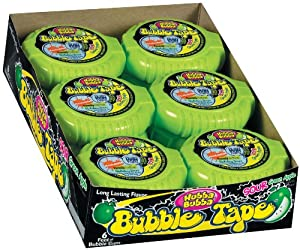 Hubba Bubba Bubble Gum Tape, Sour Green Apple, 6-Foot Tapes (Pack of 24)