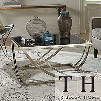 Metro Shop Tribecca Home Anson Steel Brushed Arch Curved Sculptural Modern Coffee Table