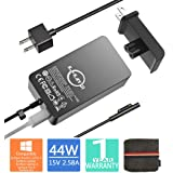 Surface Pro Surface Laptop Charger,44W 15V 2.58A Power Supply Compatible Microsoft Surface Pro 6 Pro 5 Pro 4 Pro 3 Surface Laptop 2 Surface Go&Surface Book with 6.2 Ft Cable Wall Plug and Travel Case (Color: 44W)