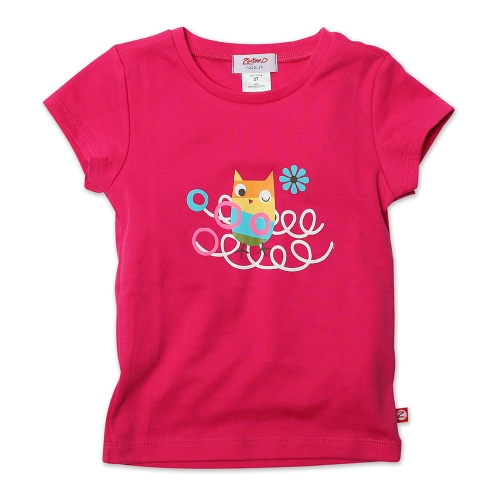 Zutano Girls 2-6X Toddler Owls Nest Screen Cap Sleeve Tee