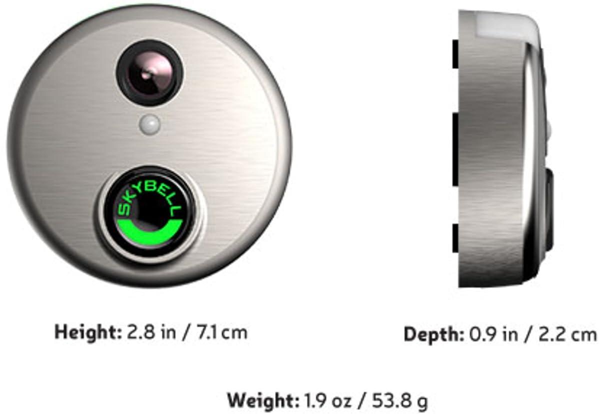 Skybell HD WiFi Doorbell Camera Alarm.com 1080p Color Night Vision Silver