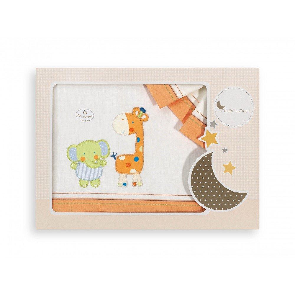 Sabanas 100% Algodón CUNA 60X120 - Jirafa Elefante BEIGE/NARANJA (bajera+encimera+funda almohada)  Bebé revisión y más información
