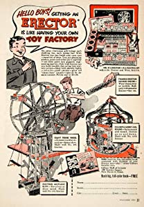1951 Ad Erector Set Toy Gilbert Hall Science New Haven Connecticut Advertising - Original Print Ad