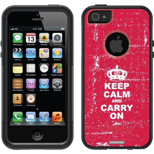 Best Price Keep Calm and Carry On design on a Black OtterBox® Commuter Series® Case for iPhone 5s / 5