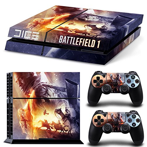 Ps4-Playstation-4-Console-Skin-Decal-Sticker-Battlefield-1-2-Controller-Skins-Set