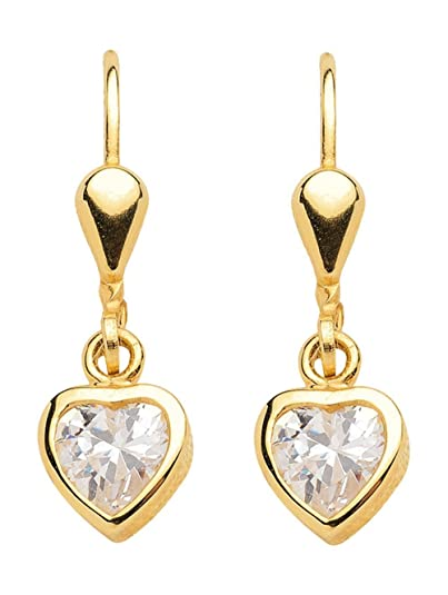 Heart Pendant Earrings with Zirconia Made of 333 gold, 8 carat