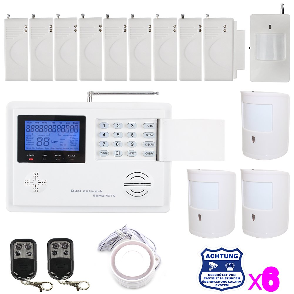 Neue GSM/PSTN Funkalarmanlage Alarmsystem 5800 inkl. Sensoren sowie Warnaufkleber +Bewegungsmelder Haustierimmun für Überwachung sowie Haussicherheit  BaumarktKritiken und weitere Informationen