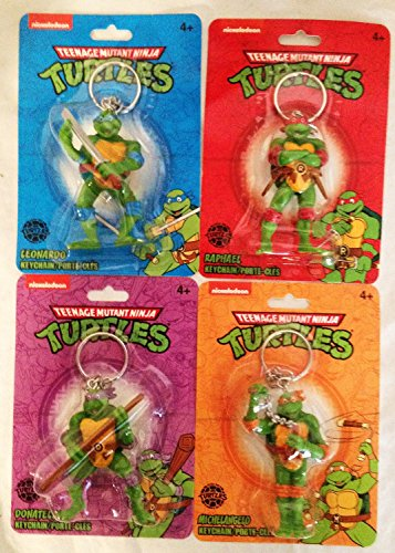 TMNT Keychains Teenage Mutant Ninja Turtles Key Chains - Set of 4