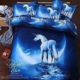 QiaoShang-3D-Universe-Space-Unicorn-Bedding-Set-Blue-Queen-Set-of-4-1PC-Flat-Sheet-1PC-Duvet-Cover-2-PCs-Pillowcases
