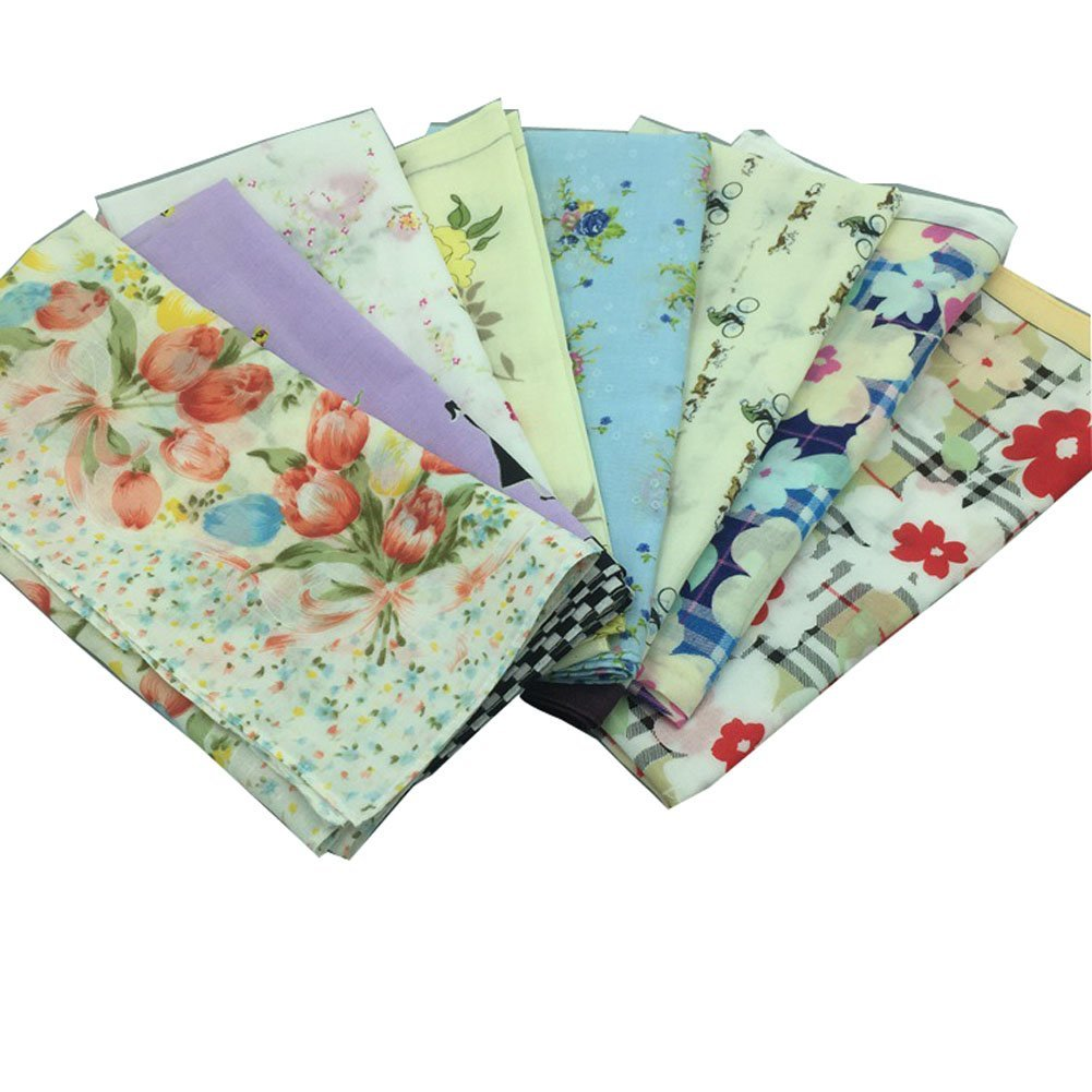 Forlisea Women Flower Print Handkerchief Cotton Hanky 0