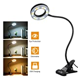 Tomshine Book Light, Metal Clip on Light with 3 Colors, 10-Level Brightness Reading Lamp with Clip for Desk, Bed (Color: Black)