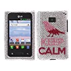 Fincibo (TM) LG Optimus Logic L35g Dynamic L38c Bling Crystal Full Rhinestones Diamond Case Protector - Pink Keep Calm On Silver