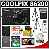 Nikon Coolpix S6200 Digital Camera (Black) with 8GB Card + Battery + Tripod + Case + Accessory Kit