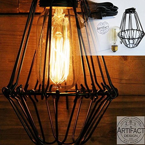 industrial vintage style pendant light fixture set with blac